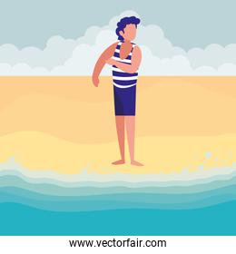 man with beach clothes