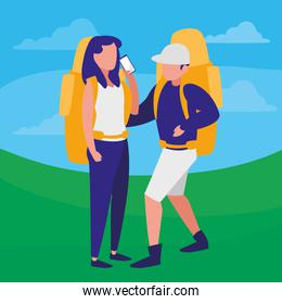 couple with climbing bag and smartphone
