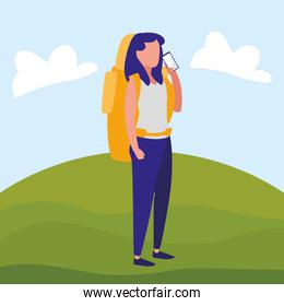 young woman with climbing bag and smartphone