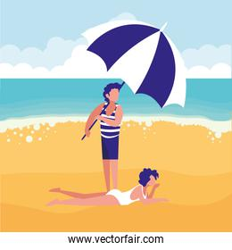 couple with beach clothes and umbrella