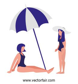 young woman with swimsuit and umbrella