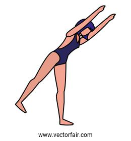 young woman with swimsuit practicing exercice