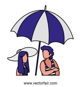 man with beach clothes and woman