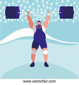 cartoon weightlifter icon