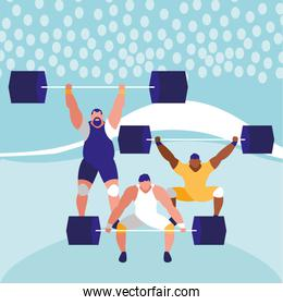 cartoon weightlifters design