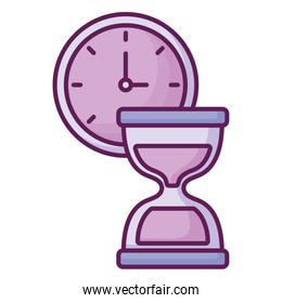 clock and hourglass design