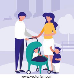 Parents with kids in the park design vector illustration