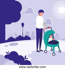 Father with baby in the park design