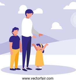 Father with kids in the park design