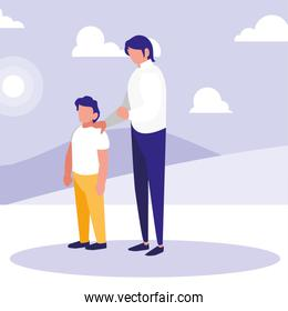 faceless father  with boy in the park design