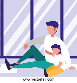 Father with son inside home design
