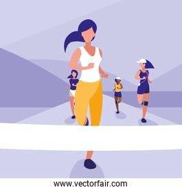 Woman in a running race design