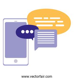 Isolated smarthphone with speech bubbles design