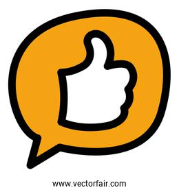 chat bubble illustration with like hand symbol