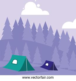 Camping and mountains design