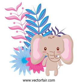 tropical flowers and cute animals design