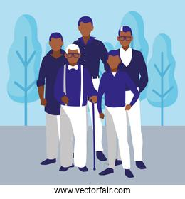 Old man and family design