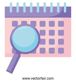 Calendar and magnifying glass