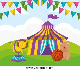 cute circus lion jumping ring in tent