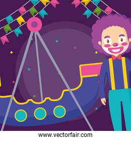 circus clown funny with pirate ship
