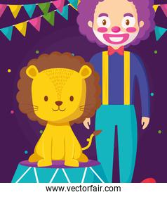 cute circus lion in stage with clown