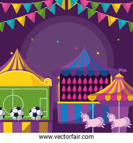 carnival kiosks with soccer balloons and water