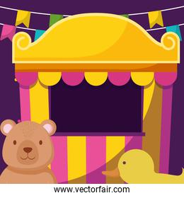 cute bear teddy with circus items