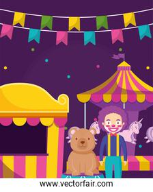 circus clown funny with bear in stage