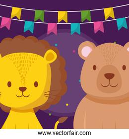cute circus lion and bear characters