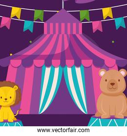 cute circus lion with tent