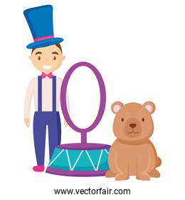 cute circus bear with magincian characters