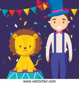 cute circus lion with magincian character