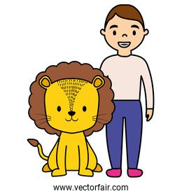 cute circus lion with man characters