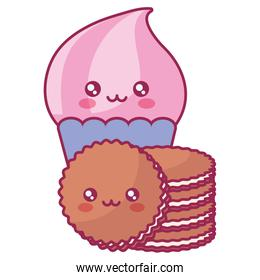 delicious cupcake with cookies kawaii characters