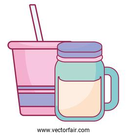 plastic cup with straw and jar