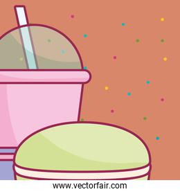plastic cup with straw and candy