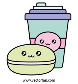 plastic cup container and candy kawaii characters