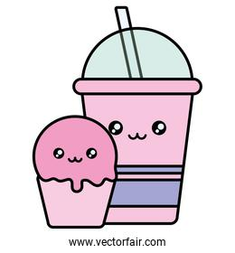 delicious cupcake and drink in plastic kawaii character
