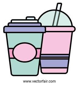 plastic cups with straw