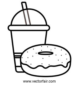 plastic cup with straw and donut