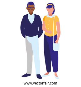 young couple interracial isolated icon