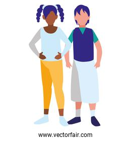 young interracial couple isolated icon