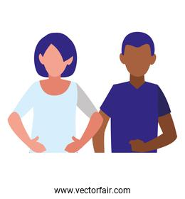 young couple interracial characters