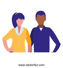 young couple interracial characters avatars