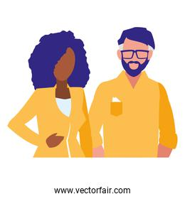 young couple interracial avatars characters