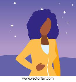 beautiful and young black woman character