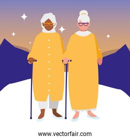 cute grandmothers couple interracial characters