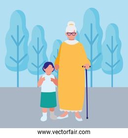 cute grandmother with granddaughter