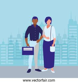 elegant interracial couple with cityscape