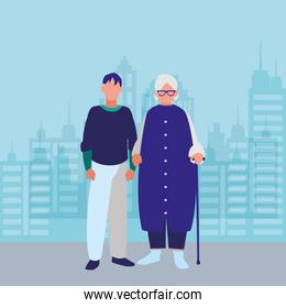cute grandmother with son characters